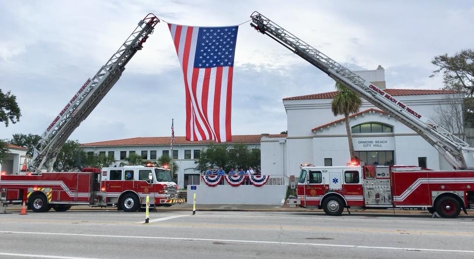 ormond beach fire flags two engines at city hall