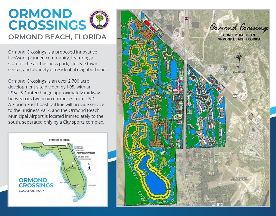 First page of a two page flyer promoting Ormond Crossings. The image contains a brief description of the proposed project, a location map showing location of ormond crossings in the context of the State of Florida, and it contains an overview image of the conceptual plan of ormond crossings.